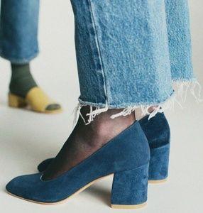 Zara Basic Velvet Blue Block Heel Pumps Size 37